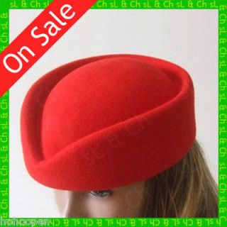 Stewardess Air Hostesses 100% Wool Vintage Pillbox Hat