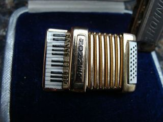 Vintage Hohner Accordion Brooch and Case and mini Hohner Mouth Organ