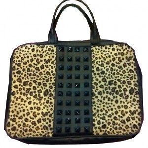 Leopard Print Stud Bag Laptop Computer PC Bag NEW