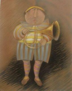 Rodo Boulanger Musicien Jaune Original Lithograph Art