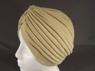 Khaki Tan hair wrap Turban twist pleated womens ladies head cap cover