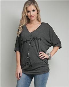 Bonjour Paris Eiffel Tower Sequined Knit Top Sweater V Neck 1X 2X 3X