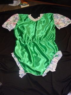 ADULT BABY/SISSY /NEW YEAR/SLEEPSUIT/ONESIE/ROMPER, GREEN SATIN TEDDY