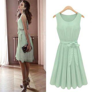 2012 summer new womens sleeveless pleated chiffon vest dress skirt
