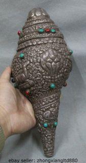 12 Tibet Tibetan Silver 8 Auspicious Symbols 2 Sheep Conch Shell