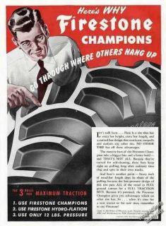 1949 Firestone Champions Farm Tractor Tires Ad