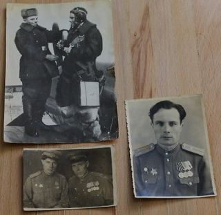 Russian Military Pilot polar helmet Photo airborne Officer Medal WW2