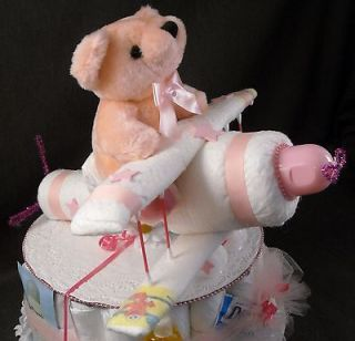 Pink Airplane Diaper Cake TOPPER Baby Shower Decorations made from