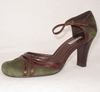 Alfani Womens Green Suede & Brown Leather Crocodile Print Heels Shoes