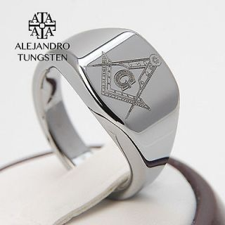 Alejandro Tungsten Carbide Ring Silver Elegant Masonic Freemason Ring