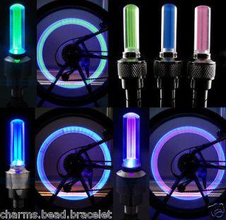 Color Cycling Fashion Blue LED Night Alarm Bike Wheel Cap Light Lamp