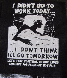 Anti Work Anarchist activist patch punk DIY Revolution Anarchy Radical