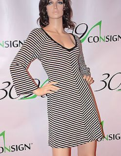 Large 12 14 Black White Cotton Diagonal Stripe Bell Aline Dress L