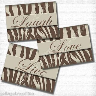 Girl Room PHOTOS Brown Cream Zebra Picture Prints LIVE LOVE LAUGH Art