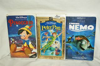 Disney VHS Movies Finding Nemo, Pinnochio & Peter Pan