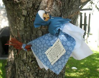 Apple head kitchen witch, Wiccan Doll Handmade, blue, white
