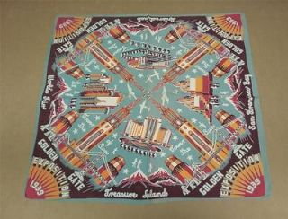 Vintage 1939 Golden Gate Exposition Worlds Fair Souvenir Scarf San