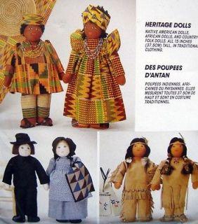 Heritage Folk African Native American Dolls Pattern 15 UNCUT   1994