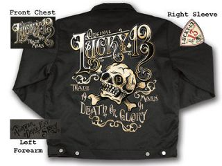 LUCKY 13 YE OLDE DEATH OR GLORY HOT ROD RACING PUNK GOTH LINED CHINO