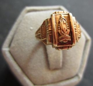 1955 Central High School Class Ring Size 5 1/2 10k Yellow Gold