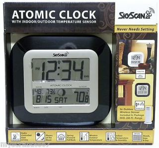 SkyScan Atomic Wall Clock with Outdoor Temperature Phases of the Moon