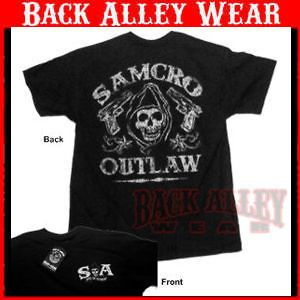 SONS OF ANARCHY SAMCRO OUTLAW SHIRT REAPER w/ GUNS SOA BIKER NEW