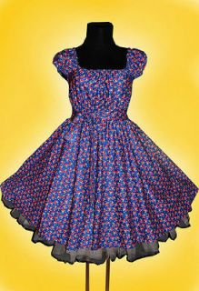 50s CHERRIES ROCKABILLY SWING DRESS Plus Size 24 26 28 Blue Red Pin Up