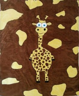 Cute Super Soft Brown Fur Animal Giraffe Fleece Baby Kid Blanket Throw