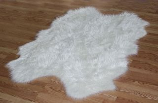 WHITE Sheepskin Faux Fur Rugs new soft long hair shag LOOKS GREAT