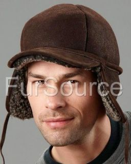 Shearling Sheepskin Elmer Fudd Winter Hat Cap