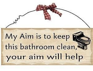 New Bathroom Wooden Plaque Sign   Country Primitive Home Wall Decor