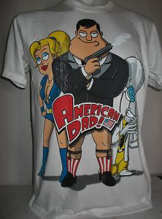 American Dad New Vintage Look Retro White T Shirt Size M