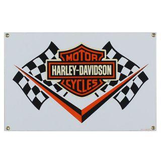 Harley Davidson Racing Flag Porcelain Sign