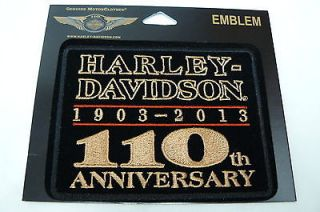 Harley Davidso n 110th Anniversary Emblem Sew On Patch, Rectangular