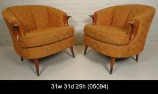Mid Century Modern American Upholstered Barrel Back Arm Chairs (05094