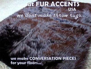 BEAR SKIN ACCENT RUG Faux Fur Fake PELT Throw LOG CABIN DESIGN NEW