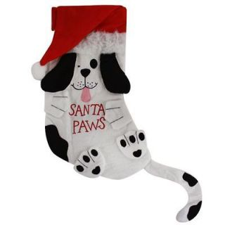 Cute Pet Christmas Stocking Santa Paws for Puppy Dogs Felt Fireplace