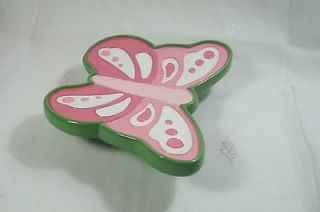 POTTERY BARN KIDS BUTTERFLY SOAP DISH PINK BATHROOM ACCESSORIES