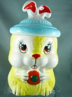Vintage Baby Easter Bunny Rabbit Cookie Jar Japan Cute Yellow Blue