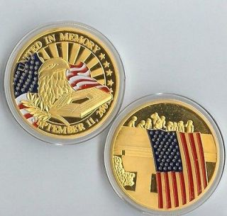 PENTAGON 9/11 UNITED IN MEMORY 24 KT GOLD COMMEMORATIVE COIN NEW