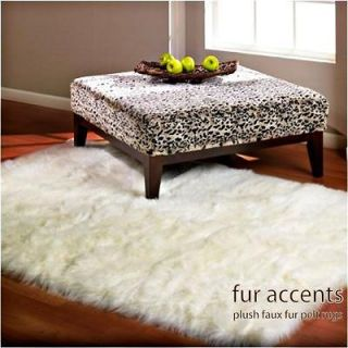 FAUX FUR RUG SHEEPSKIN ACCENT RUGS BEAR COYOTE SHAG THROW IVORY OFF