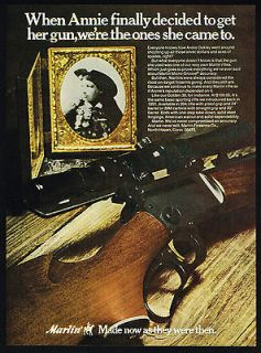 1972 Marlin Model 39 Rifle Annie Oakley Cowgirl Trick Shooter Print Ad