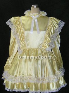 ADULT SISSY BASIC SATIN DRESS yellow 48