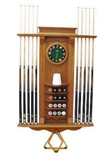 10 Pool Cue   Billiard Stick and Balll Wall Rack  Stand W/ Clock Oak