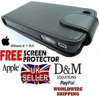 BLACK LEATHER FLIP CASE COVER FOR APPLE IPHONE 4 4G 4s
