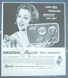1961 Ad Grundig Majestic TK 1 Attache Portable Tape Recorder