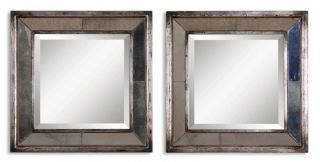 Pair Antique Silver Beveled Square Wall Mirror Tile