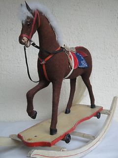 Newly listed ANTIQUE GERMAN ROCKING HORSE 1920s VERY STABLE FOLK ART