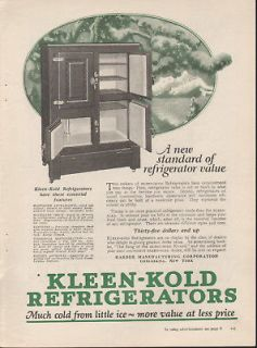 1923 KLEEN KOLD FRIDGE SNOW KITCHEN FOOD COOK CABINET