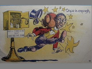 Comic Postcard 1900s Vintage Penny Arcade Mutoscope Machine SEE THE